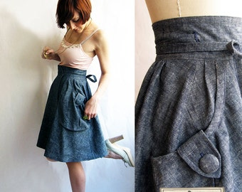 Chambray Eco Denim wrap skirt - Heartland Hemp & organic cotton denim - eco fashion skirt / Dusty Blue cute skirt