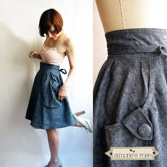 PRE-ORDER // Dusty Blue Denim wrap skirt - Heartland Hemp & organic cotton denim - eco fashion skirt