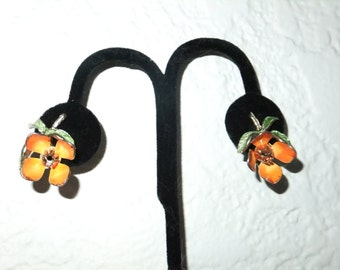 Vintage Earrings Clip On Orange Flower with Green Leaves Gold Tone Retro Costume Jewelry Summer Flowers Clips