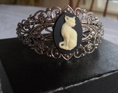 Cat Cameo Filigree Cuff in Antique Silver