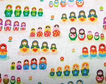 Small Russian Dolls White Timeless Treasures Fabric Cotton Yard