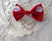 Red Polka Bow Chain Pin