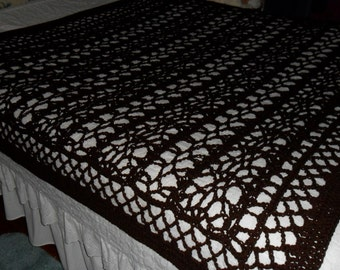 New(Ready to Ship) Crocheted Afghan  - Coverlet  - Blanket - Throw - Bedspread XLarge  ''BOUDOIR''  in Brown