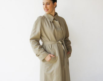 Vintage 70s Trench Coat / Tan Trench / Size L