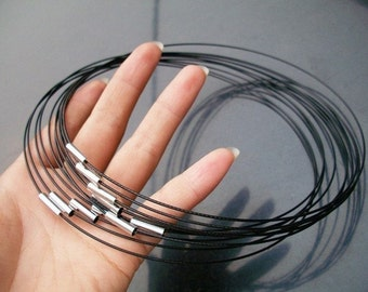 NEW NEW NEW 5pcs 18 inch 1mm black stainless steel necklace cords/wires with stainless steel magnet clasps