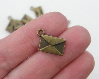 12 Envelope charms antique bronze tone BC98