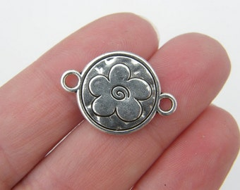 5 Flower connector charms antique silver tone F56