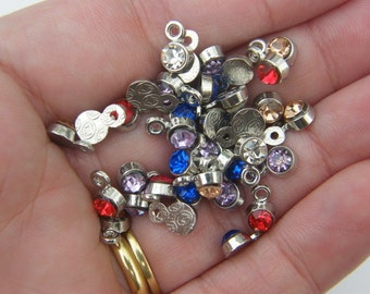 50 Rhinestone charms silver tone