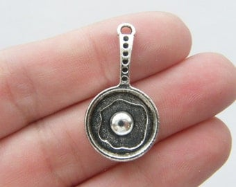 4 Frying pan charms antique silver tone FD106