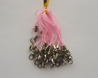 20 Pink and silver cell phone strap 70mm with lobster clasp