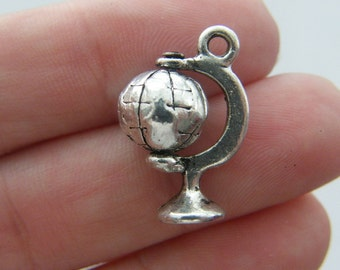 4 Globe charms antique silver tone WT65