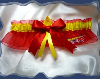 Red Organza Ribbon Wedding Garter Made with St Louis Cardinals Fabric