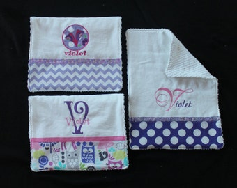 VIOLET)--Personalized Baby Burp Cloth SET OF 2 or 3 or4