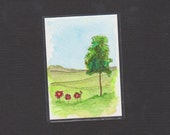 ACEO ~Poppies ~ Doodleland - Watercolor - Free Shipping