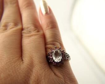 Pink Quartz Flower Ring - Sterling Silver - Vintage