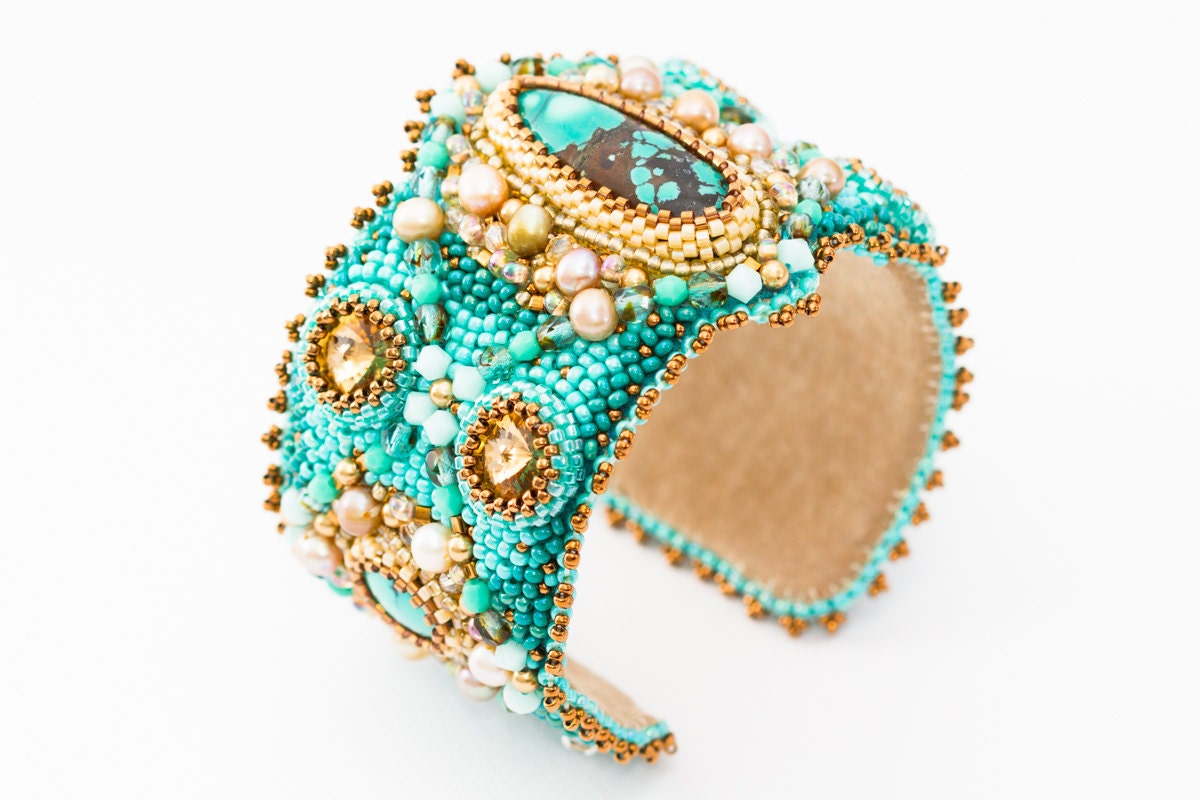 Turquoise cuff bead embroidery bracelet spring jewelry by