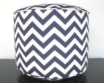 "Chevron pouf ottoman in navy blue and white, round 18"" floor pouf in zigzag print , kids floor pillow in nautical decor"