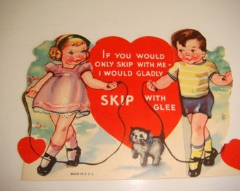 Jumping Rope Skipping 1940's Valentine