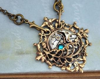 steampunk necklace, Door To The Secret Garden, filigree necklace, feather necklace, steampunk jewelry with vintage watch movement