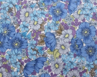 Liberty tana lawn printed in Japan - Gloria flowers  - Blue gray mix