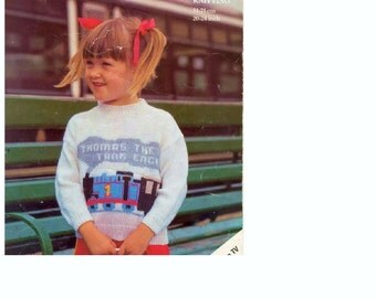 Knitting Pattern - Child's Thomas the Tank Engine Sweater knitting patterns - 20 - 29 inch chest sizes