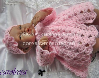 Baby Crochet pattern - Matinee Jacket, Bonnet Mittens and Booties for baby Reborn doll