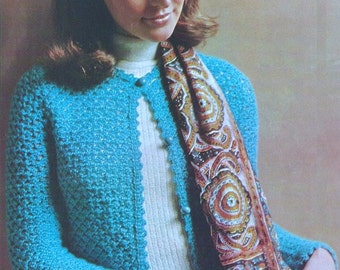 Vintage Crochet Pattern - Womens Sweater//Jacket Sizes Small, Med and Large