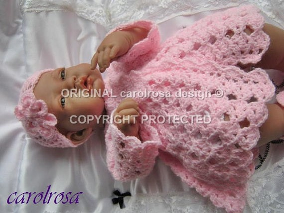 Baby Crochet Pattern Matinee Jacket Bonnet Mittens And
