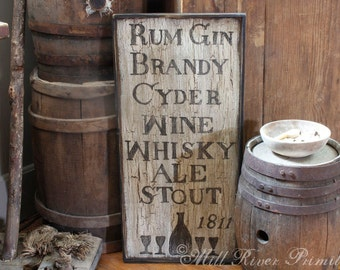Small Reproduction 18th c Colonial Tavern Menu Wooden Sign