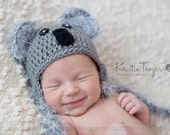Baby boy hat, baby girl hat, crochet koala hat, koala, baby koala, photo prop, baby shower gift, coming home outfit, crochet newborn hat