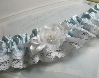 Silver/blue Satin and Lace Garter