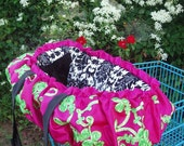 Custom Lime and Hot Pink Ribbon Satin/Black Minky Damask Fancy Shopping Cart Cover