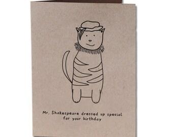 Birthday Humor Greeting Card Shakespeare Cat