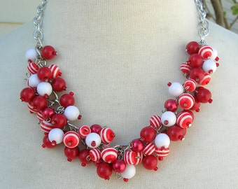 Red & White Baubles, Faux Pearls, Lucite and Glass Beads, Silver Chain, Necklace Set by SandraDesigns