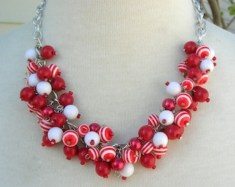 Red & White Baubles Set, Faux Pearls, Lucite, Wood, and Glass Beads, Silver Chain, Can Add Silver Jingle Bells,Necklace Set by SandraDesigns