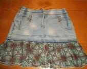 Upcycled Denim Skirt with Teal and Brown Chiffon Ruffles and Accents Size  Waist 28