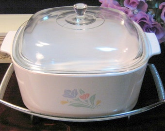 Vintage Corning Ware Pyroceram Friendship 5 Quart Dutch Oven or Casserole, Glass Pyroceram Cookware, Vintage Kitchen Baking Dish Casserole