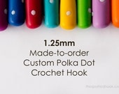 1.25mm Crochet Hook, Made-to-Order Custom Colour Polka Dots, comfortable polymer clay handle for easy use