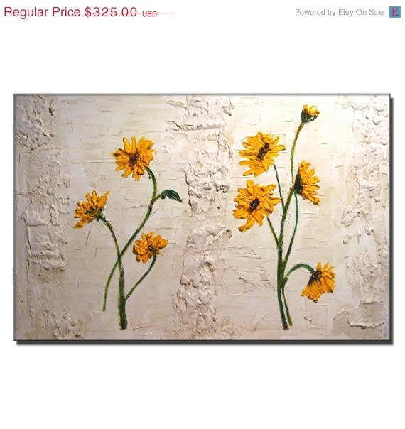 ORIGINAL Contemporary Sun Flowers Acrylic Painting Abstract Textured Modern Art by Henry Parsinia