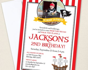 Pirate Party Photo Invitations - Professionally printed *or* DIY printable