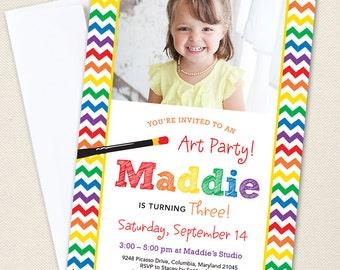 Art Party Photo Invitations - Professionally printed *or* DIY printable