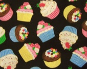 1/2 Half  Yd. Sweet Cupcakes Cotton Fabric-Cranston Village