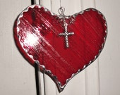 Stained Glass Heart Deep Red with Cross