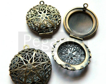 Filigree Victorian Antique Bronze Locket Pendant  (6 Pieces)(2.5cm width) Antique like locket pendant base for cameo / cabochons