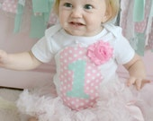 Mint and Pink Polka Dot Girls Custom Birthday Shirt with Age or Initial and Rosette Flower Sizes 12m-8
