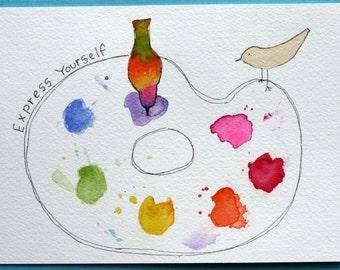 Express Yourself original watercolor, colorful bird and painter's palette, simple art, paint splatters, artist