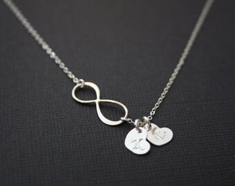 Personalized Infinity Necklace  All Serling Silver Two Initial hearts ,Custom Letter. romantic gift  for her , perfect gift , everyday wear