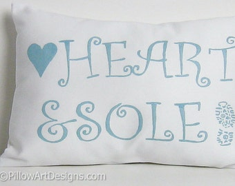 Marathon Runner Decorative Cushion Heart and Sole Ice Blue and White Made in Canada