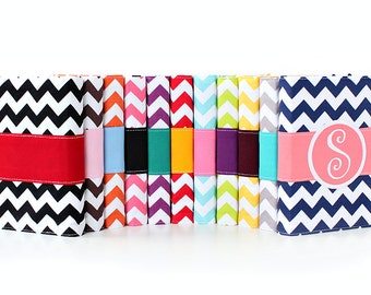 Chevron Monogrammed Journal  - You select, fabric, frame, and font - Mothers Day - Personalized journal - Teacher Gift - Initial Sketchbook