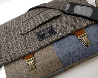 """Mens 13""""laptop Messenger Bag , 13""""  Macbook Pro Laptop case,Trunk Latch, Recycled Suit Coat, Back to School, Upcycled bag"""